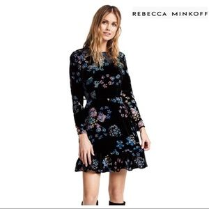 REBECCA MINKOFF LONG SLEEVE VELVET MINI DRESS